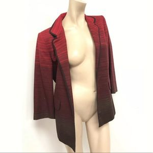 Ellen Tracy Red To Brown ombre Open front Blazer 6